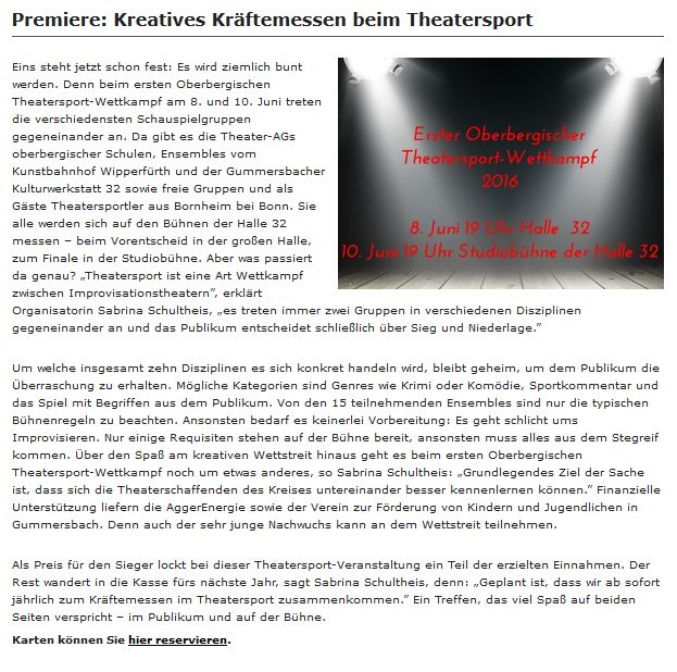 Newsletter Halle32 Theatersport